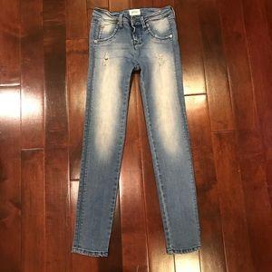 Hudson Girls Distressed Medium Wash Skinny Jeans